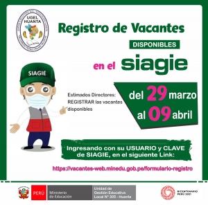 REGISTRO DE VACANTES DISPONIBLES EN EL SIAGIE