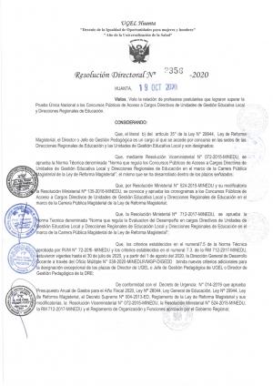 Resolución Directoral Nº 2356 - 2020