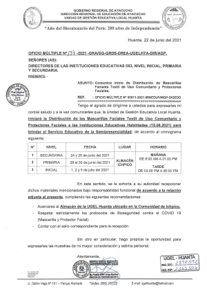 OFICIO MULTIPLE N° 137 -2021 -GRA/GG-GRDS-DREA-UGELHTA-DIR/AGP