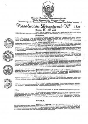 RESOLUCIÓN DIRECTORAL Nº 1834