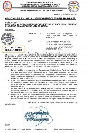 OFICIO MULTIPLE N° 022 -2021 -GRA/GG-GRDS-DREA-UGELHTA-DIR/AGP.