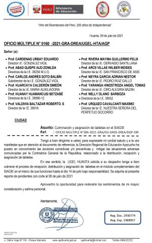 OFICIO MÚLTIPLE N° 0160 -2021-GRA-DREA/UGEL-HTA/AGP