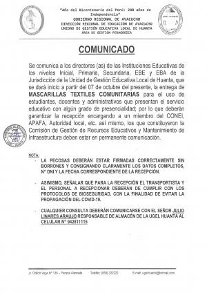 ENTREGA DE MASCARILLAS TEXTILES COMUNITARIAS