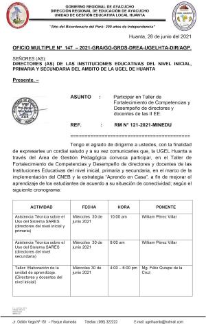 OFICIO MÚLTIPLE N° 0147 - 2021-GRA-DREA/UGEL-HTA/AGP