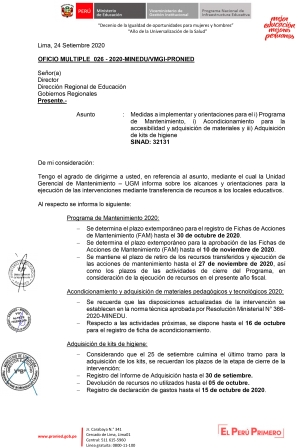 OFICIO MULTIPLE 026 - 2020-MINEDU/VMGI-PRONIED
