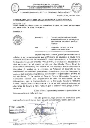 OFICIO MULTIPLE N° 119 - 2021 - GRA/GG-GRDS-DREA-UGELHTA-DIR/AGP