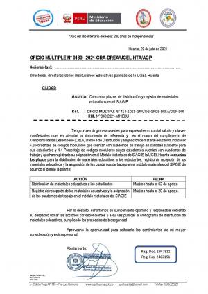 OFICIO MÚLTIPLE N° 0180 -2021-GRA-DREA/UGEL-HTA/AGP