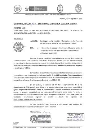 OFICIO MÚLTIPLE N° 197 -2021 -GRA/GG-GRDS-DREA-UGELHTA-DIR/AGP.
