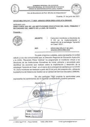 OFICIO MULTIPLE N° 116 - 2021 - GRA/GG-GRDS-DREA-UGELHTA-DIR/AGP