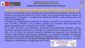 AVISO SOBRE CARACTERIZACIÓN EXCEPCIONAL DE II.EE. EIB