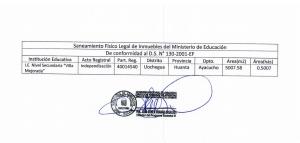 Saneamiento Físico Legal de Ia II.EE. Villa Mejorada