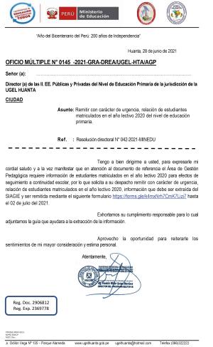 OFICIO MÚLTIPLE N° 0145 -2021-GRA-DREA/UGEL-HTA/AGP