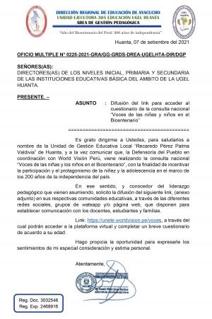 OFICIO MULTIPLE N° 0225-2021-GRA/GG-GRDS-DREA-UGELHTA-DIR/DGP