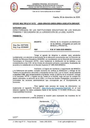OFICIO MULTIPLE Nº 0172 –2020-GRA/GG-GRDS-DREA-UGELHTA-DIR/AGP.