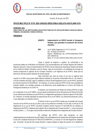 OFICIO MULTIPLE N° 0179 -2021-GRA/GG-GRDS-DREA-UGELHTA-AGI-PLANIF-HTA.
