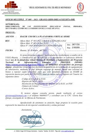 OFICIO MULTIPLE N° 009 - 2021– GRA/GG-GRDS-DREA-UGELHTA-DIR.