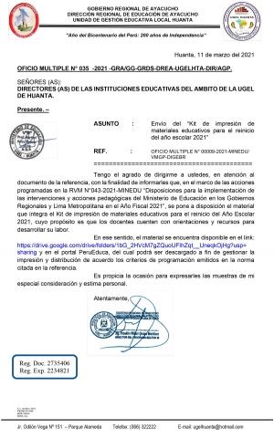 OFICIO MULTIPLE N° 035 -2021 -GRA/GG-GRDS-DREA-UGELHTA-DIR/AGP.