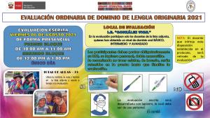 EVALUACIÓN ORDINARIA DE DOMINIO DE LENGUA ORIGINARIA 2021