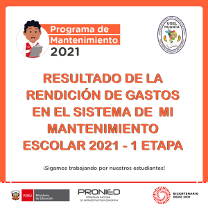 MI MANTENIMIENTO ESCOLAR 2021 - 1 ETAPA REGULAR