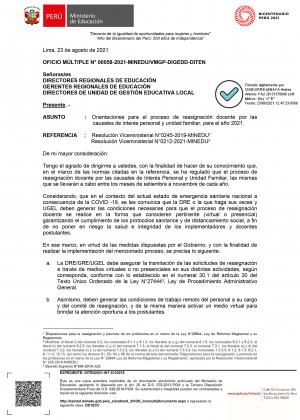OFICIO MÚLTIPLE N° 00058-2021-MINEDUVMGP-DIGEDD-DITEN