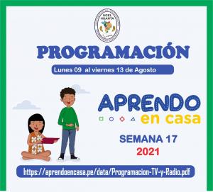 PROGRAMACIÓN DE APRENDO EN CASA DEL 09 AL 13 DE AGOSTO 2021