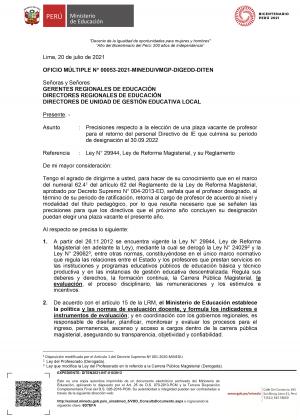 OFICIO MÚLTIPLE N° 00053-2021-MINEDUVMGP-DIGEDD-DITEN