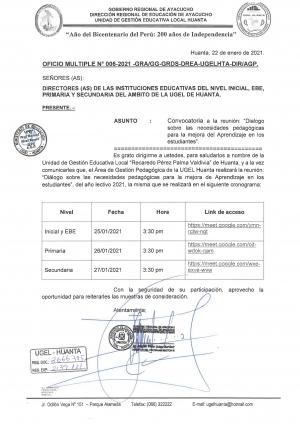 OFICIO MULTIPLE Nº 006-2021-GRA/GG-GRDS-DREA-UGELHTA-DIR/AGP
