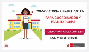 CONVOCATORIA PARA COORDINADOR DISTRITAL - ALFABETICIACIÓN CONTINUIDAD EDUCATIVA