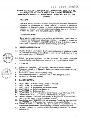 NORMA QUE REGULA EL REGISTRO DE LA TRAYECTORIA EDUCATIVA DEL ESTUDIANTE DE EDUCACIÓN BÁSICA EN SIAGIE