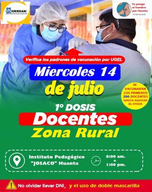240 VACUNAS MÁS, PARA DOCENTES DE ZONAS RURALES DE HUANTA.