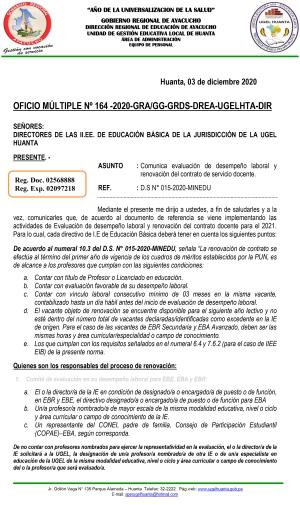 OFICIO MÚLTIPLE Nº 164 -2020-GRA/GG-GRDS-DREA-UGELHTA-DIR