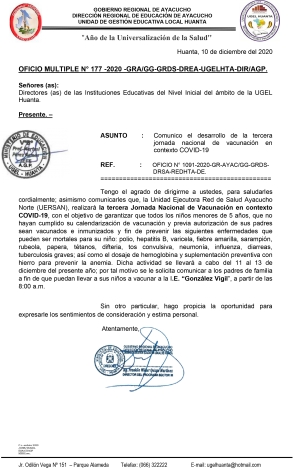 OFICIO MULTIPLE N° 177 - 2020 -GRA/GG-GRDS-DREA-UGELHTA-DIR/AGP.