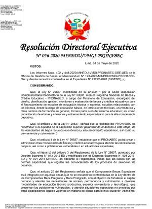 Resolución Directoral Ejecutiva  Nº 056-2020-MINEDU/VMGI-PRONABEC
