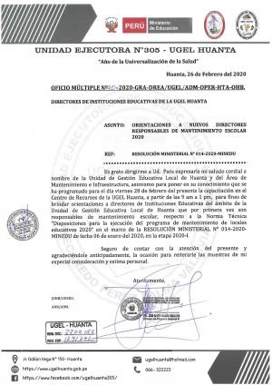 OFICIO MÚLTIPLE Nº 030-2020-GRA-DREA/UGEL/ADM-OPER-HTA-OHB