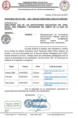 OFICIO MULTIPLE N° 008 -2021 -GRA/GG-GRDS-DREA-UGELHTA-DIR/AGP.