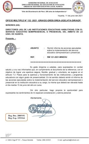 OFICIO MULTIPLE N° 132 -2021 -GRA/GG-GRDS-DREA-UGELHTA-DIR/AGP
