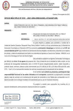 OFICIO MÚLTIPLE Nº 0191 –2021-GRA-DREA/UGEL-HTA/AGP-DIR.