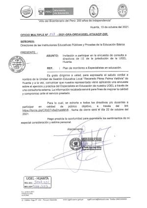 OFICIO MÚLTIPLE N° 258 - 2021-GRA-DREA/UGEL-HTA/AGP-DIR