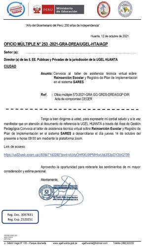 OFICIO MÚLTIPLE N° 253 -2021-GRA-DREA/UGEL-HTA/AGP