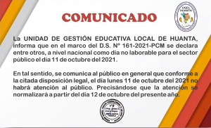 DÍA NO LABORABLE PARA EL SECTOR PÚBLICO EL DÍA 11 DE OCTUBRE DEL 2021.