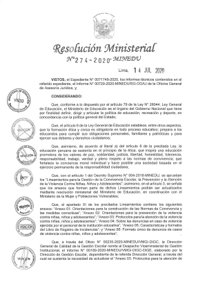 Resolución Viceministerial N° 274-2020-MINEDU
