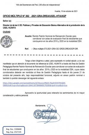 OFICIO MÚLTIPLE N° 262 - 2021-GRA-DREA/UGEL-HTA/AGP