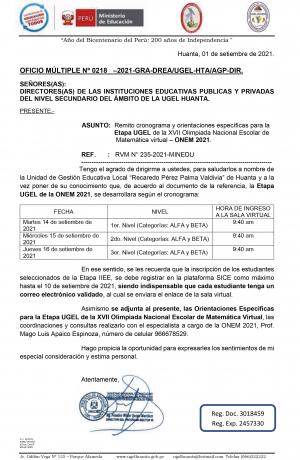 OFICIO MÚLTIPLE Nº 0218 –2021-GRA-DREA/UGEL-HTA/AGP-DIR.