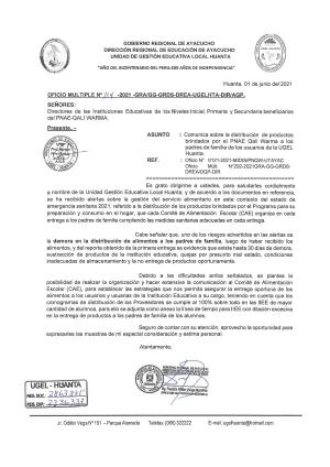 OFICIO MULTIPLE N° 114 - 2021 - GRA/GG-GRDS-DREA-UGELHTA-DIR/AGP