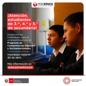 Inscripción al Programa de Competencias Digitales y Socioemocionales.