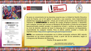 CONSULTA  ORAL, ESCRITURA, FECHA DE VENCIMIENTO  Y DESCARGAR CONSTANCIA DE DOMINIO DE LENGUA ORIGINARIA