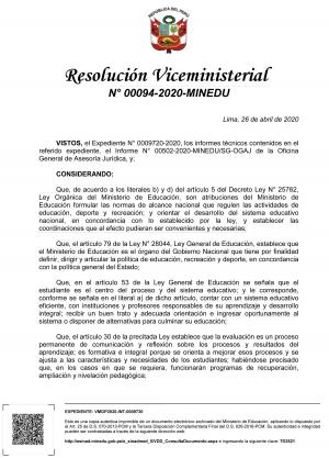 Resolución Viceministerial N° 00094-2020-MINEDU