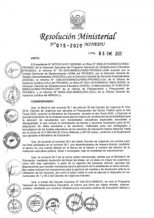 Resolución Ministerial Nº 015-2020 - MINEDU