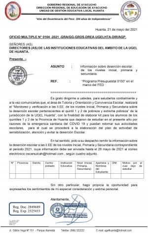 OFICIO MULTIPLE N° 0104 -2021 -GRA/GG-GRDS-DREA-UGELHTA-DIR/AGP