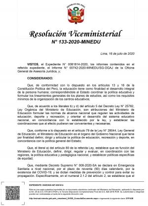 Resolución Viceministerial N° 133-2020-MINEDU